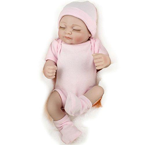 ECMQS Reborn Neugeborenen Baby Realike Puppe, handgemachte Lebensechte Silikon Vinyl gewichteten Lebendige Puppe für Kleinkind Geschenke 11inchs
