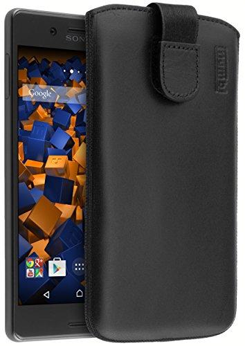 mumbi ECHT Ledertasche für Sony Xperia X Tasche Leder Etui schwarz (Lasche mit Rückzugfunktion Ausziehhilfe)