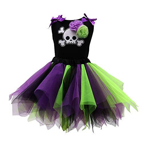 QSEFT Mädchen Halloween Kostüm Kleider Ballettröckchenkleid,Black3,90 (90's Halloween Kostüme)