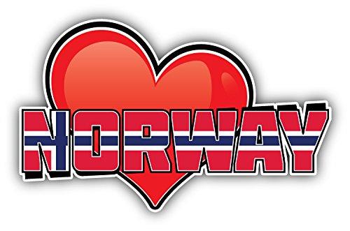 novland Norwegen Art Herz Flagge Reise-Aufkleber Autoaufkleber Autoaufkleber Autoaufkleber 12,7 x 7,6 cm -