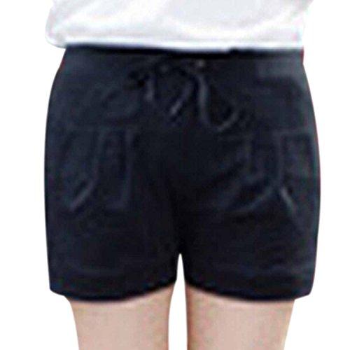 QIYUN.Z Coton Taille Haute Cordon Shorts Courts Pantalons Solides De Plage De Sport Occasionnels Noir