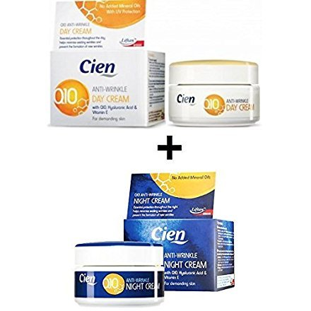 :Set 2 Cremas Cien Q10 Antiarrugas Noche Día Vitamina