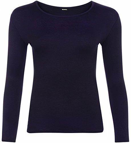 WearAll - Damen Übergröße langarm t-shirt Top - 8 Farben - Größe 44-48 Marineblau