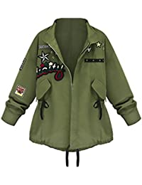 Chaquetas Mujer Militar Primavera Otoño Abrigos Camuflaje Con Parche  Cremallera Fiesta Verde Militar Tallas Grandes Anchas 570c1149054f