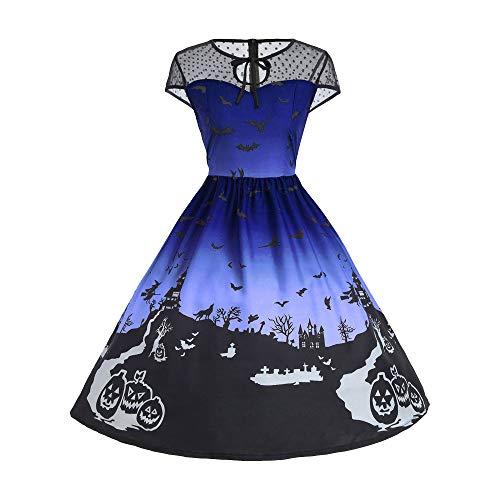 Halloween Vintage Kleider,Resplend A-Linie Abendkleid Damen Mesh Patchwork Kleid Mode Swing...