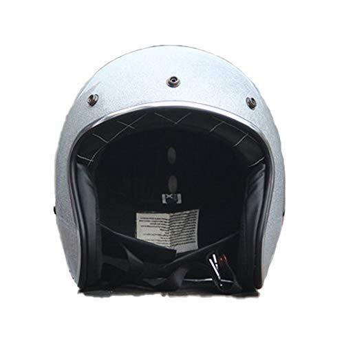 Casco Moto Casco Mezzo Casco Retro Casco da Uomo con Visiera UV Occhiali di Protezione Retro Vintage Stile Certificazione ECE/DOT 53-60cm