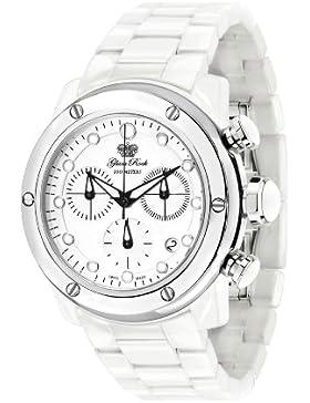 Glam Rock Unisex Quartz-Uhr mit weißem Zifferblatt Analog-Anzeige und 0.96.2549 Keramik-Armband