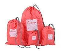 Bigood 4 Set Luggage Organizer Travel Storage Bags Dry Bag Shoe Pouch Coffee