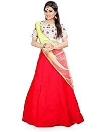 Shree Rang Creation Red Taffeta Silk Designer Lehenga Choli(AFL-14_Red_Free Size)