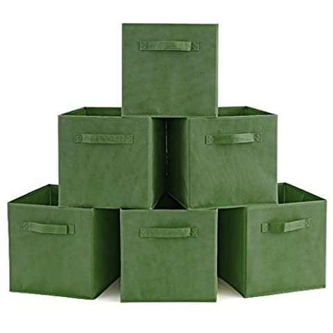 EZOWare 6-Pack Foldable Storage Box Cube Basket Bin for Laundry, Toys, Clothes, DVDs, Books, Food, Bedding, Art and Craft - Kale