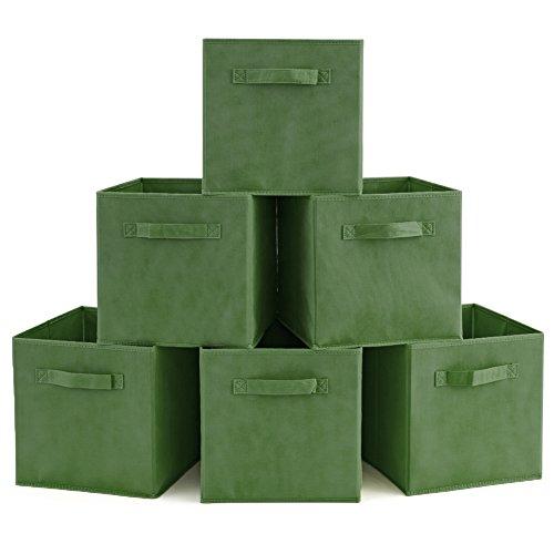 Grüner Schrank (EZOWare 6er-Set Aufbewahrungsbox Faltbare Aufbewahrungskiste Faltbox und Weichem Stoff in Würfelform - Kale Grün)