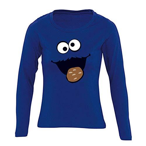 Monster Kostüm Mädchen Cookie - Jimmys Textilfactory Longsleeve Krümelmonster mit Keks Karneval Kostüm Sesamstraße Damen XS - 2XL Gruppen-Kostüm Rosenmontag Party Feier, Größe:2XL, Farbe:Royalblau