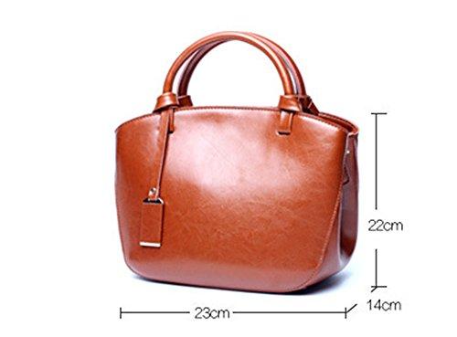 Xinmaoyuan Borse donna borsette in cuoio Estate Cross Pelle di vacchetta borsette retrò Borsa portatile borsa Messenger Brown