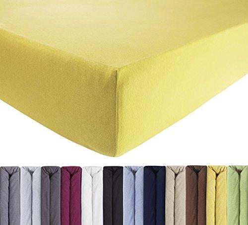 ENTSPANNO Jersey-Luxus-Spannbettlaken 140 x 200 | 160 x 220 cm für Wasser- und Boxspringbett in Sonnen-Gelb aus gekämmter Baumwolle. Spannbetttuch mit Einlaufschutz bis 40 cm hohe Matratzen