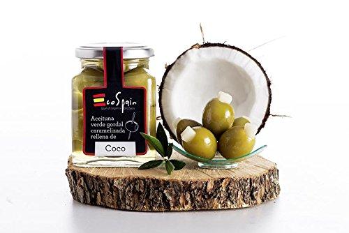 Grüne Oliven Gordal (groß) mit karamellisierten Coco gestopft. CAT: I- Größe 80-90.Gourmet Produkt. Nettogewicht 300 gr. -
