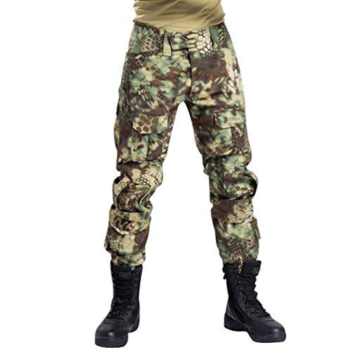 YuanDian Herren Frösche Schlank Passen Tarnung Airsoft Taktisch Militär T-Shirt Militärhose Sets Langarm Camo Armee Top + BW Feldhose Outdoor Camping Uniform Grün Pythonmuster Hose 36 - Woodland Camo Bdu Military Shirt