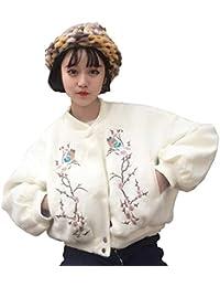 Chaquetas Bomber Mujer Vintage Moda Bordado Flores Chaqueta De Aviador Elegantes Manga Larga Sencillos Stand Cuello
