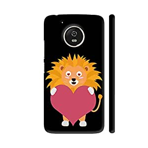 Colorpur Moto G5 Cover - Lion With Big Heart Printed Back Case