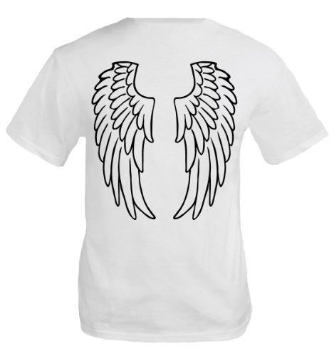 buXsbaum Herren T-Shirt Engelsflügel | Rückendruck | Karneval Fasching Halloween Kostüm Funshirt | M, Weiß