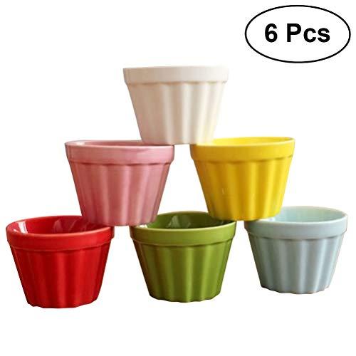 BESTONZON 6Cute Keramik Mousse Cup Pudding Cup Set High Temperature Resistant Soufflé Tassen Kuchen Form Home Dessert Werkzeug
