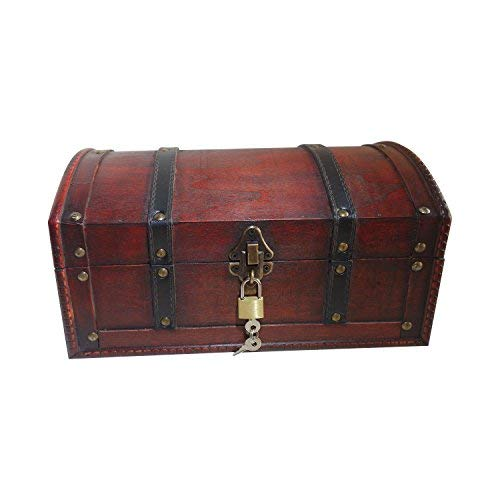 - Holztruhe, Piratenkiste, Geschenk-Box verschließbar mit Deckel und Schloss mit Schlüssel, 30x20x15cm große Schatzkiste ()