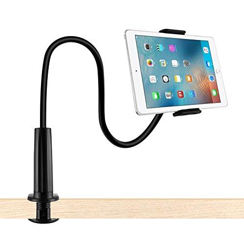 Lonzoth Schwanenhals Handy Halterung, iPad Schwanenhals Halterung Halter Einstellbare Halter Tablets Telefon halterung 360 ° Drehen für 4-11 Zoll Android und Apple Device(Schwarz)
