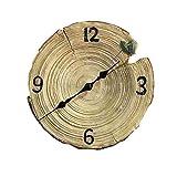 LIYANGZ Tridimensional ImitacióN Madera Personalidad Relojes Decorativos Resina ImitacióN Madera Anillos Silencioso Colgante De Pared 26 * 26 Cm Relojes de Escritorio