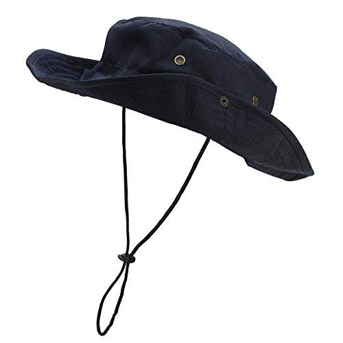 Faleto Outdoor Hut Buschhut Boonie Hat mit Kinnband Fischermütze Sonnenhut Sommerhut für Herren Damen (Nachtblau) - Kinnband Hut