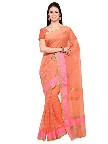 AppleCreation Women's Linen Saree With Blouse Piece (sarees new collection 2LNN204_Pink)