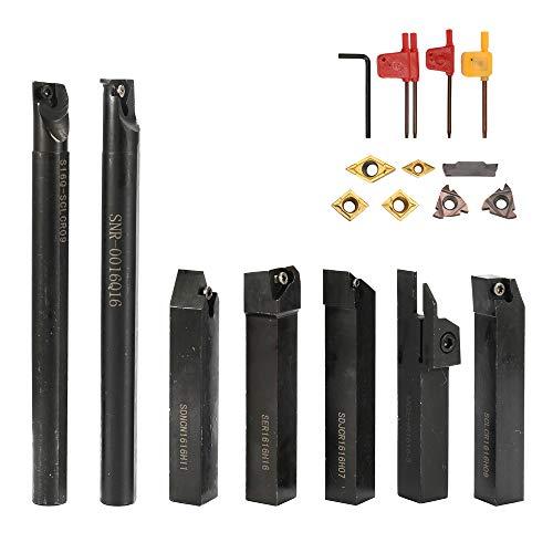 Baugger Utensile da tornio da 16 mm - Attacco da 16 mm 7 pezzi con chiave per inserti in metallo duro Set di utensili per tornitura con supporto al bar