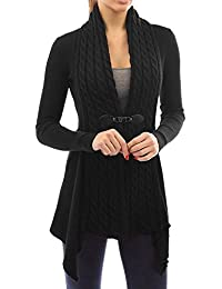 Strickjacke Damen Kolylong® Frauen Elegant Lange Strickjacke mit  V-Ausschnitt Herbst Winter Warm Mantel Strick Locker Jacke Vintage… 7fa71612e1