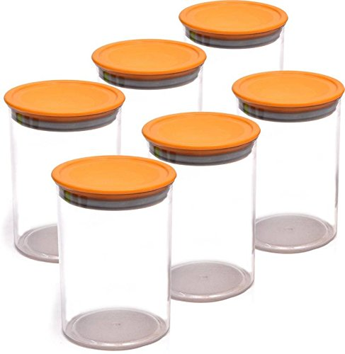 Star Work Air Tight Unbreakable Container Full (Set of 6) Idle for Kitchen- Food Rice Container-900ml