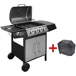Festnight Barbecue Gril à Gaz 4 + 1 Br?leurs BBQ et Grill Noir et argenté