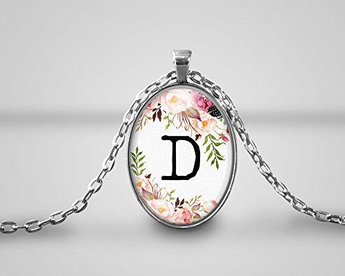 D Weiß Floral Initial Cameo Anhänger Name Monogramm personalisierte Halskette Zitat, handgemacht