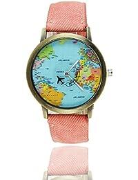 weant viajero de las mujeres reloj de pulsera correa de tela azul globo terráqueo Mini mapa del mundo plano Dial vestido reloj analógico cuarzo reloj de pulsera para mujeres en venta