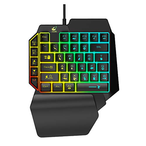 Amuse-MIUMIU Gaming Tastatur USB, Kabelgebundene Gaming Tastatur mit LED-Hintergrundbeleuchtung 39 Tasten Einhand Folientastatur Beleuchtete Anti-Ghosting Keyboard (Typ A) -