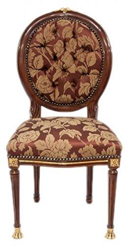 Casa Padrino Baroque luxury dining medallion chair Bordeaux pattern /