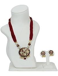 Ratnatraya White Kundan Heavy Red Carnelian Crystal Multi Layered Stone Pendant Necklace Set With Earrings | Traditional...