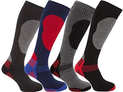 i-Smalls Boy`s 4 Pairs High Performance Ski Socks Long Hose Thermal Socks 12-3 -