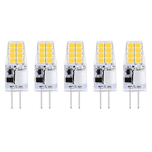 Reteck 5er Pack G4 2W LED Lampen, 210lm, 2W ersetzt 20W Halogenlampen, Nicht Dimmbar, Warmweiß(2900K), 12V AC/DC, G4 LED Leuchtmittel Birne