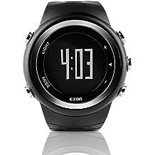 EZON T023 Relojes deportivos digitales de los hombres Reloj de pulsera al aire libre con alarma Contador de calorías del podómetro de la alarma (negro)