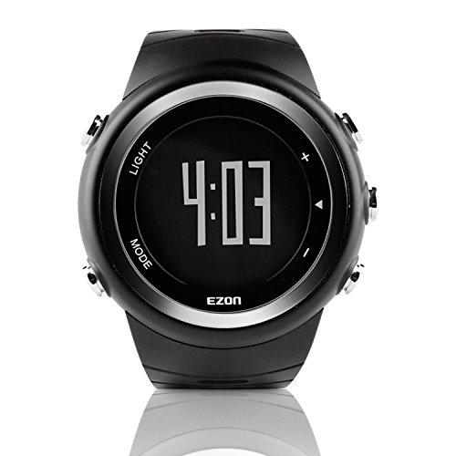 Preisvergleich Produktbild EZON T023 Herren Digital Sportuhren Outdoor Laufen Armbanduhr mit Alarm Stoppuhr Pedometer Kalorienzähler (Schwarz)