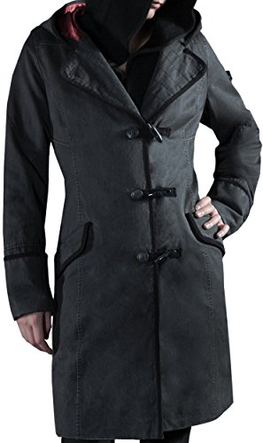 Musterbrand-Assassins-Creed-Kapuzenmantel-Damen-Evie-Jacke-Grau