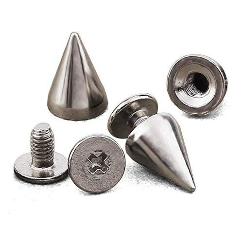 Amasawa 100 pezzi borchie a cono argento per la decorazione sulle vostre borse fai da te braccialetti in pelle vestiti scarpe ecc (argento)