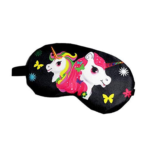 MSYOU Schlafmaske, einfacher Einhorn-Stil, Schattierung, lindert Ermüdung der Augen, kann angepasst Werden, für Männer und Frauen, für Kinder, Schwarz (Schwarz) - CGFZ16129I5X420MNLBZ61F
