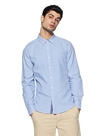 United Colors of Benetton Men's Solid Slim Fit Cotton Casual Shirt (18P5EC08U008I_Blue_S)