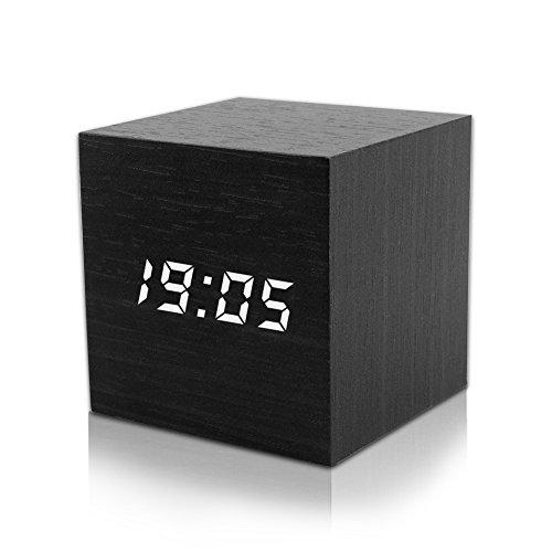 LED Digital Wecker, Mini Holz Wecker Digital LED Hölzerne Wecker Uhr Zeit Datum Temperaturanzeige - Stimme und Berührung aktiviert - USB Kabel / Batteriebetriebener