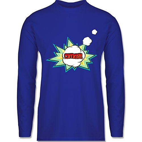 Comic Shirts - OMG - Oh my god Denkblase - Longsleeve / langärmeliges T-Shirt für Herren Royalblau