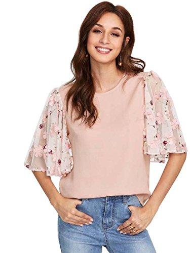 ROMWE Damen Elegant Bluse mit Blumen Applikation Stickerein Ärmel Locker  Shirt Oberteil Rosa L 163658ab60