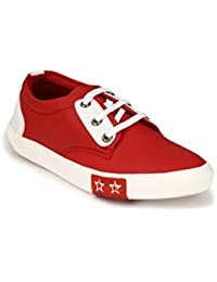 TURISMO Red Artificial Leather Lace Up Sneeker/Casual Shoes For Mens